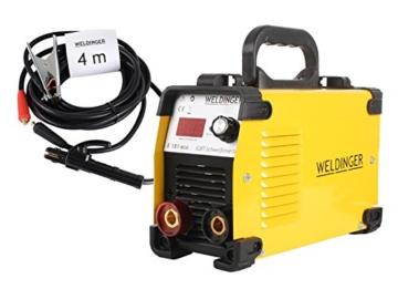WELDINGER Aktionsset Schweißinverter E 181 eco, Automatik-Schweißhelm, Elektrodensortiment, Schlackehammer, Handschuhe - 2