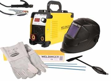 WELDINGER Aktionsset Schweißinverter E 181 eco, Automatik-Schweißhelm, Elektrodensortiment, Schlackehammer, Handschuhe - 1